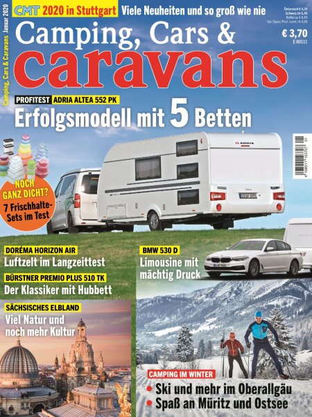 Camping, Cars & Caravans 1/2020 E-Paper oder Print-Ausgabe